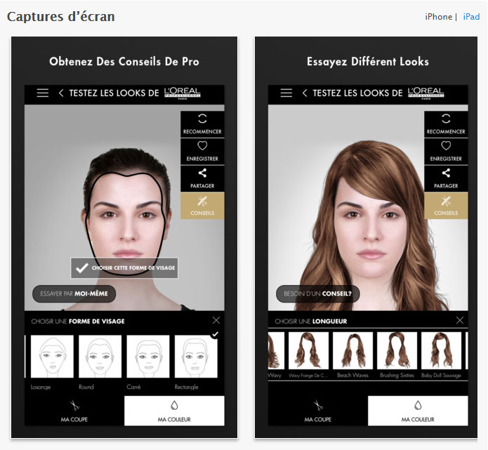 application simulation coiffure